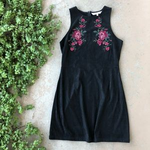 Cupcakes & Cashmere Faux Suede Embroidered Dress